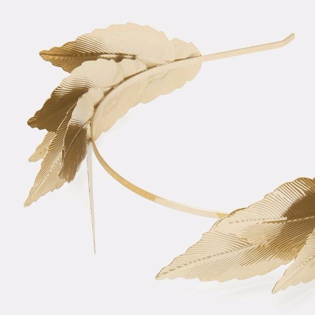 gold leaf fascinator crown